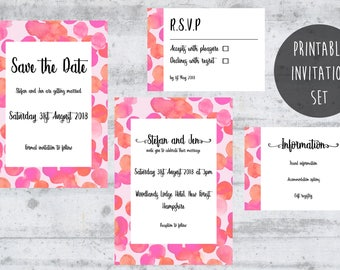 Bright Wedding Invitation, Custom Invitations, Personalized Wedding Card, Printable Wedding Invitation Set, Modern Invitation, Pink Wedding.