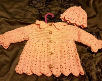Baby Girls crochet cardigan with matching hat