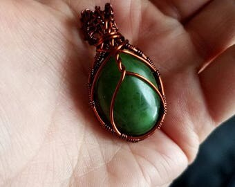 African Jade Pendant-Wire Wrapped Jewelry-Wire Woven-Wire Woven Pendant-Coil and Thread