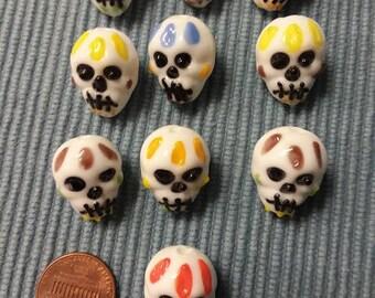 Lampwork Skull Beads set of 10