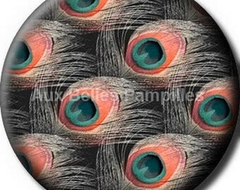 """Round cabochon resin 25 mm - """"peacock feathers"""" stick (1009) - bird, gift, gift."""