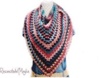 Chal Amoroso / Palestino / Cuello / tejido a mano / handmade / rosa - verde lanquecino - esmeralda - beige  lana acrílica ganchillo crochet
