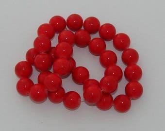2 beads 12mm diameter red jade