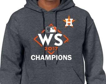 2017 World Series Champions Houston Astros MLB Pullover Hoodie Dark Heather Sweater Free Shipping