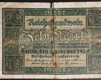 1 x Reichsbanknote - 10 Mark from 1920