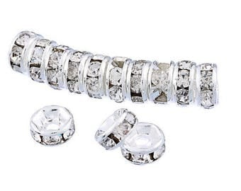 50 pieces - 6mm Silver Rhinestone Spacers Beads