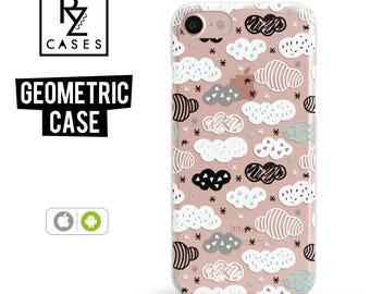 Geometric Case, iPhone 7 Case, Clouds Phone Case, iPhone 6 Case, Geometric, iPhone 7 Plus, iPhone 6 plus, Samsung Galaxy, iPhone 7 Clear