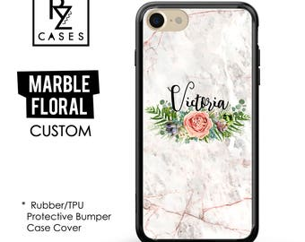 Rose Marble Phone Case, Marble iPhone 7 Case, Floral Marble Case, Personalized Gift, iPhone 7, Gift for Her, Rubber Case, Bumper