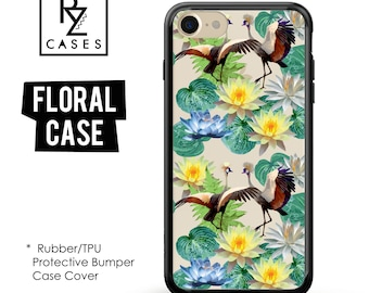 Floral Phone Case, iPhone 7 Case, Flower Phone Case, iPhone 6s Case, Birds Case, Floral iPhone Case, iPhone 5,  Rubber Case, Bumper