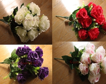 "Silk Rose Bush 18"" (46cm) 12 x 3"" Heads, With Gyps, 4 Colours, Home Decor, Bouquets, Wedding"