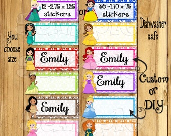 Princess Dishwasher safe and Waterproof Kid's Labels name stickers Princess name tags Daycare Stickers School labels This belongs to sticker