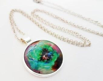 Galaxy Necklace Glass Cabochon Jewelry Nebula Pendant Blue Purple Turquoise Photo Space Stars