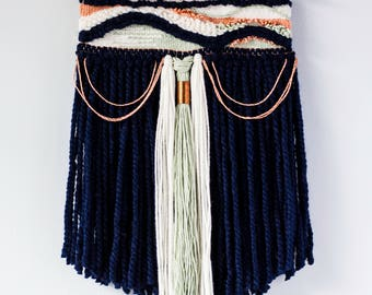 Navy Mint & Copper Woven Wall Hanging | Woven Wall Hanging | Woven Tapestry | Woven Wall Art | Home Decor | Nursery Decor