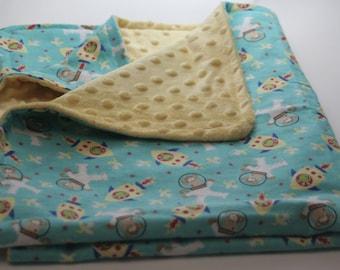 Astronaut Monkeys Flannel Print Minky Backed Baby Blanket