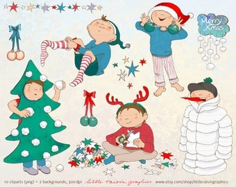 Clipart Set Christmas preparations . kids . children . download . handdrawn . commercial use