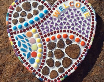 WELCOME Mosaic Heart Plaque
