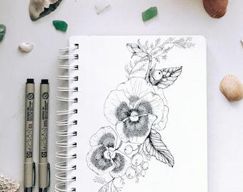 A comissioned forearm tattoo blueprint! Pansies! (Origina)