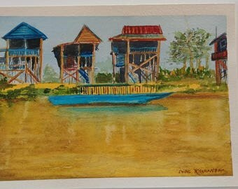 Original watercolour of Floating Village, Siem Reap, Cambodia