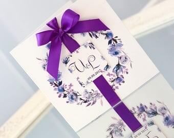 boho wedding invitations, boho wedding, floral wedding invitations, purple wedding, boho invitations, floral invitations, purple invitations