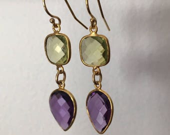 Amethyst and lemon quartz earrings