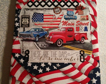 Old cars with patriotic fabric covered notebook