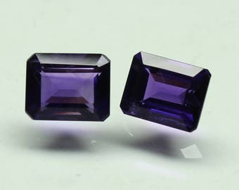 Amazing AAA Natural  purple African Amethyst Size 9x7 MM faceted 2 PCs Lot Octagon CODE :- AQ29