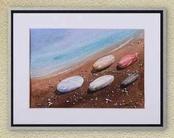 Watercolors - Original Watercolor Painting on Aquarelle, Seascape Painting, Pebbles Painting, Sea Painting, Sky Painting, Watercolors Art