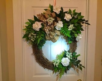 All season wreath, white flower wreath , front door wreath, spring wreath, summer wreath