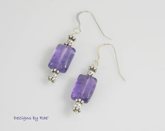 Zambian Amethyst Earrings with Sterling Silver additions