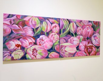 Original Flower painting/ Gift Decorating /canvas painting / pinkish and purple