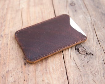 Full grain vegetable tanned leather card wallet pouch compact 3 card slip made from premium leather