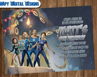 The Deep Digital Party invitation customize invite birthday thank you card