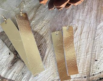 Gold Bar- Leather Earrings