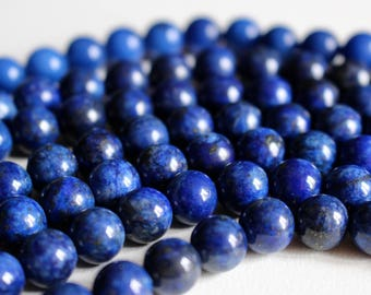 8mm Lapis Lazuli beads, half strand, natural stone beads, round, 80003