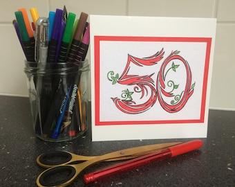 Handmade birthday number card