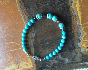 Navy bracelet aquamarine 6mm