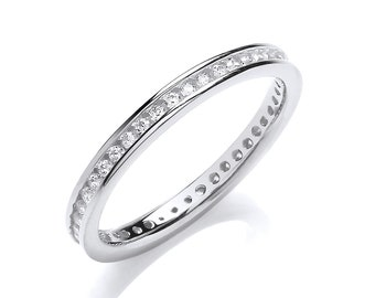 925 Sterling Silver 2mm Full Channel Set Cz Eternity Ring Hallmarked