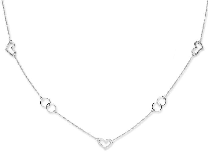 "Sterling Silver Cut Out Hearts and Round Disc Links 34"" Long Chain Necklace"