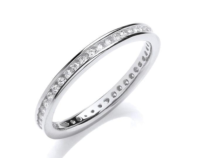 925 Sterling Silver 2mm Full Channel Set Cz Eternity Ring Hallmarked
