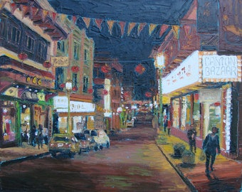 CHINATOWN  night scene of Chinatown, original knife oil painting on canvas