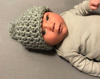 Gray PomPom Baby Beanie