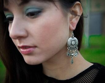 Ethnic Earrings, Indian Earrings, Silver Dangling Earrings, Nickle Free Earrings, Indian Earrings, Pretty Floral Earrings, Oxidised Earrings