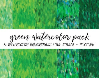 Watercolor Backgrounds Pack, Textures Bundle, Watercolor Digital Paper, Green Watercolor Background, Watercolor Background