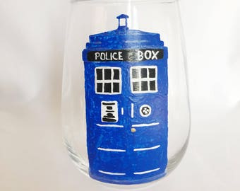 Doctor Who TARDIS hand painted stemless Whovian wine glass