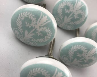 Set of 6 X Pale Duck Egg & White Victorian Vintage Style Ceramic Knobs