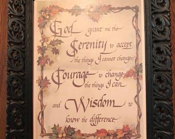 Vintage Serenity Prayer in Frame