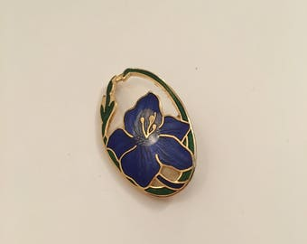 Fish and crown vintage cloisonne brooch blue