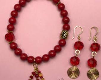 Beaded Bracelet and Beaded Spiral Dangle Earrings