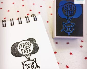 Hand Carved Stress Free Rubber Stamp