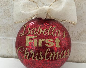 Personalized Christmas Ornament - Babys First Christmas - Glitter - boy - girl - Gifts for mom - red - gold - 2017 - Christmas baby